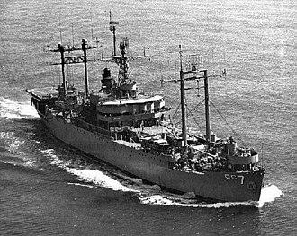 USS Mount McKinley - Image: USS Mount Mc Kinley (AGC 7) underway in early 1960s