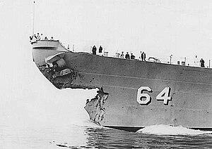 USS Eaton (DD-510) - Image: USS Wisconson collision