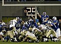US Navy 041001-F-0000S-002 Navy kicker Geoff Blumenfeld gives Air Force the boot, kicking a field goal with four seconds left in the game.jpg