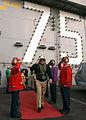 US Navy 050114-N-5345W-136 Chief of Naval Operations Adm. Vern Clark exits the island of the Nimitz-class aircraft carrier USS Harry S. Truman (CVN 75) through rainbow side boys.jpg