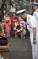 US Navy 050520-N-9851B-016 Commander Naval Forces Japan, Rear Admiral Frederic Ruehe bows after laying a wreath during a memorial ceremony for Sailors who died on Commodore Matthew Perry's journey to Japan.jpg
