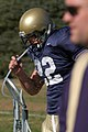 US Navy 051219-N-0050T-067 Naval Academy fullback, Adam Ballard takes a water break during a team practice.jpg