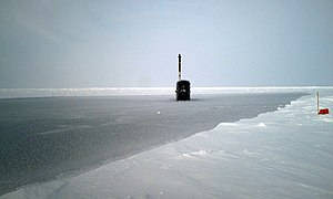 HMS Tireless (S88) - Tireless surfaces in arctic ice, 2007 during ICEX-07