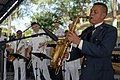 US Navy 070729-N-4238B-052 Salvadoran Army band saxophone player Sergeant 1st Class Julio Cesar Aguilar plays a solo during a U.S. Navy Showband performance at Parque de Acajutla.jpg