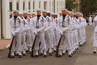 United States Navy Ceremonial Guard - Enlisted Full Dress Whites worn at a Change of Command Ceremony in 2009.