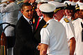 US Navy 091026-N-1644C-002 President Barack Obama shakes hands with Capt. Jack Scorby Jr, commanding officer of Naval Air Station Jacksonville.jpg