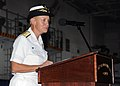US Navy 100729-N-3885H-068 Rear Adm. Nora W. Tyson speaks during a change of command ceremony in the hangar bay aboard USS George H.W. Bush (CVN 77).jpg