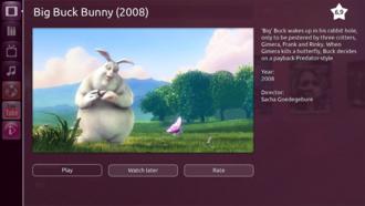 Unity (user interface) - Ubuntu TV showing Big Buck Bunny