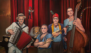 Ulrich Tukur - Painting Ulrich Tukur and the Rhythm Boys by Manfred W. Juergens