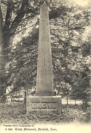 Uncas - This 1905 postcard is an image of the Uncas monument placed upon the foundation laid by President Jackson.