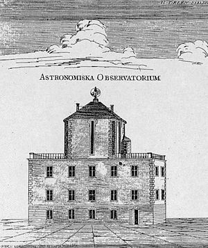 Uppsala Astronomical Observatory - The house of Anders Celsius with his observatory on the roof, from a contemporary engraving.