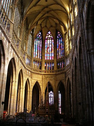 Czech Gothic architecture - Choir of the St. Vitus Cathedral in Prague built by Matthias of Arras and Peter Parler in 1344–1385.