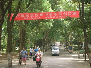 National Higher Education Entrance Examination - A banner on the HUST campus in Wuhan congratulates top exam score achievers from the university-affiliated high school