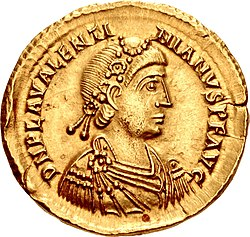 Golden coin depicting Valentinian III