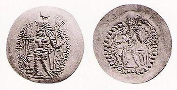 Coin of Bahram I as Kushansha. Obv: King Bahram I with characteristic headdress. Rev: Shiva and bull.