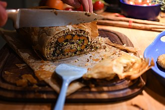 Beef Wellington - Vegetable Wellington, with mushrooms, cashew nuts and carrots.