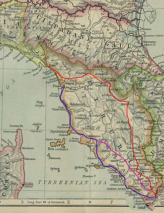 Via Clodia - The ancient Roman roads to the north west. In blue the original trace of the via Aurelia, in red the via Cassia, in mauve the via Clodia.