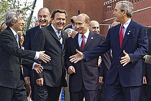 Russia–United States relations - Vladimir Putin with George W. Bush and other Western leaders in Moscow, May 9, 2005