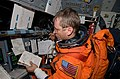 View of STS-125 Pilot Gregory C. Johnson on the Flight Deck (28224240212).jpg