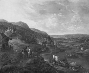 View of the Rhine with Figures