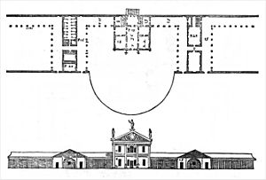 Villa Angarano - Drawing of the original project (partly realised) by Andrea Palladio, from I Quattro Libri dell'Architettura, 1570.