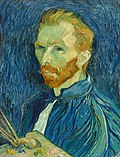 A redbearded man in a blue smock holding paintbrushes and artist palette in his hand; looks to the left