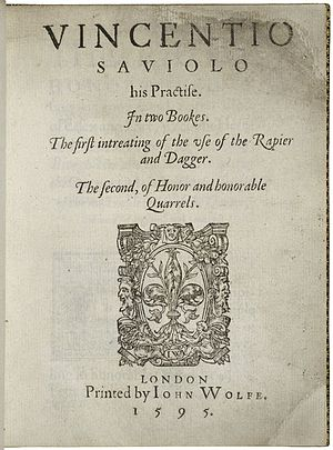 Vincentio Saviolo - The title page from Vincentio Saviolo, His Practise, Saviolo's fencing handbook published in 1595.