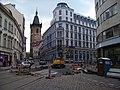 Vodičkova 7, Lazarská 8, rekonstrukce tramvajové trati.jpg