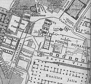 Vulcanal - Map (1926) of the western end of the Roman Forum: The Volcanal is indicated between the Arch of Severus and the stairs of the Temple of Concord, just northwest of the Umbilicus and Rostra.