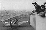 Vought F4U Corsair takes off from USS Hancock (CV-19), circa in September 1945.jpg