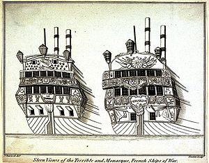 HMS Monarch (1747) - Image: Vue des vaisseaux Terrible et Monarque capture en 1747