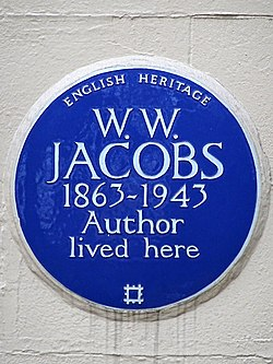 W.w. jacobs 1863 1943 author lived here