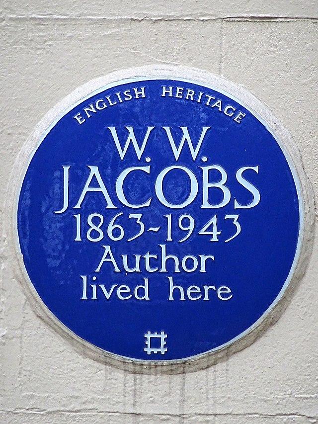 William Wymark Jacobs blue plaque - W. W. Jacobs 1863-1943 author lived here