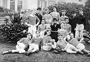 Staffordshire Senior Cup - The West Bromwich Albion team display the Staffordshire Cup in 1883.