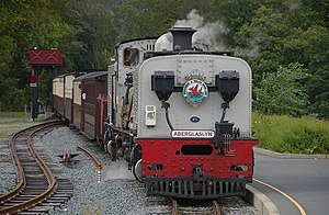 Beddgelert railway station - Number 87 arrives at Beddgelert on its way to Hafod-y-llyn