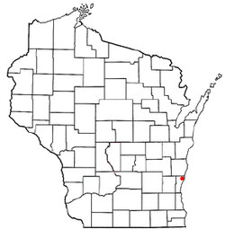 Location of Town of Belgium in Ozaukee County, Wisconsin.