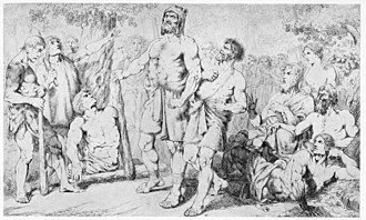 Carl Wahlbom - Illustration for Asarne by Per Hendrik Ling, with Storkvid (center), the father of Starkad