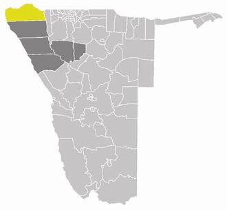 Epupa Constituency - Epupa constituency (yellow) in the Kunene Region (dark grey)
