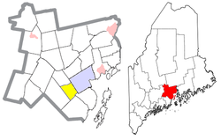 Location of Belmont (in yellow) in Waldo County and the state of Maine