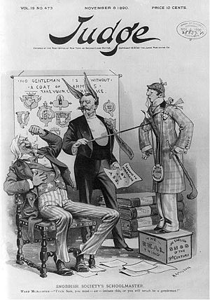 "Ward McAllister - ""Snobbish Society's Schoolmaster."" Caricature of Ward McAllister as an ass telling Uncle Sam he must imitate ""an English snob of the 19th century"" or he ""will nevah be a gentleman"". Published in Judge, 8 November 1890."