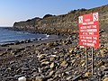 Warning sign on the beach, Charnel - geograph.org.uk - 695285.jpg