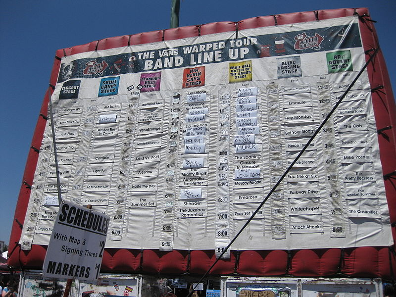 Vans Warped Tour  Lineup Wikipedia