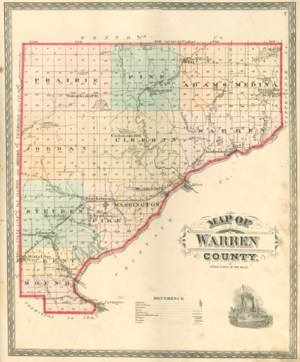 Civil township - 1877 map of Warren County, Indiana. Among all civil townships, only Pine Township exactly matches a survey township with 36 sections.
