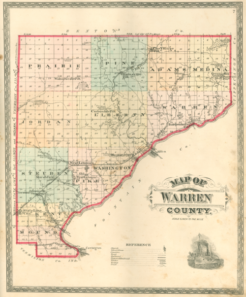 1877 map of Warren County, Indiana. Of the civil townships shown on this map, only Pine Township exactly matches a survey township with 36 sections. Warren County, Indiana map from 1877 atlas.png