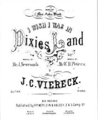"""P. P. Werlein - Unauthorized sheet music to """"Dixie"""", published by P. P. Werlein and Halsey of New Orleans, Louisiana in 1861."""