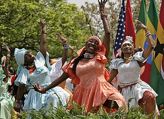 African dance - Members from the Kankouran West African Dance Company perform during a ceremony in the Rose Garden, White House in 2007