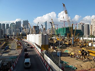 Hong Kong West Kowloon railway station - View of the construction site