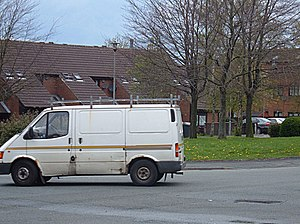 English: White Van It is turning right out of ...