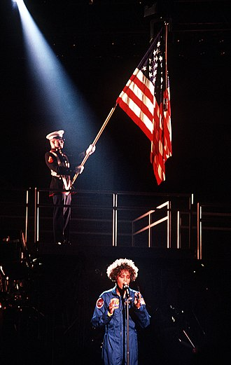 """The Star Spangled Banner (Whitney Houston recording) - Houston opening the Welcome Home Heroes concert with """"The Star Spangled Banner"""" on March 31, 1991."""