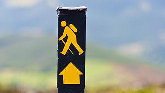 """Wicklow Way - """"Walking man"""" waymarker on the Wicklow Way"""